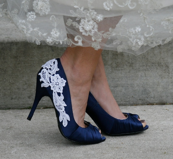 Navy Blue Wedding Shoes With Venise Lace Applique. Size 10