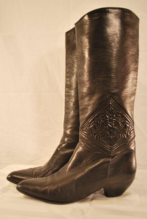 Black Italian Leather Vintage Via Spiga Cowboy / Western Boots 6 1/2 (51B)