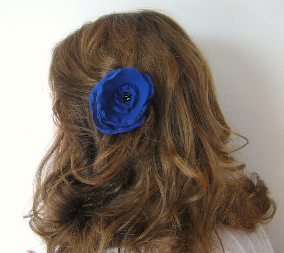 Something Blue Flower Clip, Crystal Hair Barrette, Swarovski Hair Piece, Bridesmaid Hair Accessory, Bridal Flower, Flower Girl