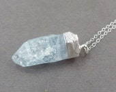 Aqua Crystal Necklace with Sterling Silver Cap on Sterling Silver Chain OOAK