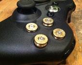 Xbox 9mm bullet button Controller Video Game Geekery gun brass shells handmade handcrafted handgun bullets games call of duty gears of war