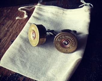 Shotgun Cufflinks set 1 pair wedding groomsman set gift 12 gauge gold tone handmade handcrafted cuff links grooms men