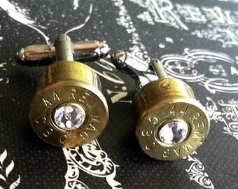 Bullet cufflinks Desert Eagle 44 MAG Diamond Swarovski clear crystal silver backings Magnum handgun cuff link gift wedding cuff links men