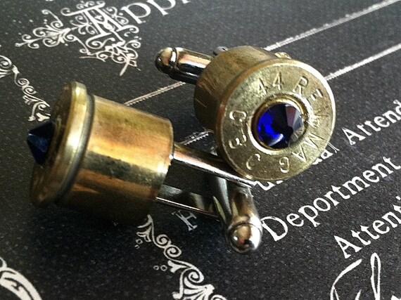 Bullet cufflinks Desert Eagle 44 MAG Blue Swarovski crystal cobalt silver backings Magnum handgun cuff link gift wedding cuff links men