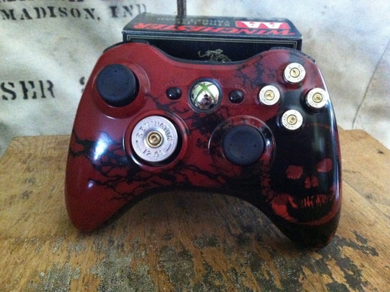 Xbox 9mm Shotgun Shell bullet button Controller Custom Special Edition Gears of War Controller Video Game handcrafted handmade