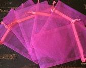 4x6 Organza Gift Bags Schocking Pink set of 7