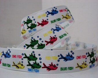 "1"" Ribbon by the Yard Dr Seuss-Red fish Blue fish White Grosgrain ribbon-Dr. Seuss-great for Hair bows, Sewing by Ribbon Lane Supplies"