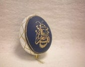 Easter Bee and Blossom Ornament - Blue and White Painted and Carved Eggshell