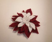 Red Wine Repurposed Fleece and Felt Chrysanthemum Flower Clip Belt Accent - Christmas