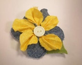 Country Marigold Clip - Yellow Blue Green Fabric Flower Accessory for Sash, Scarf, Lapel, Bag