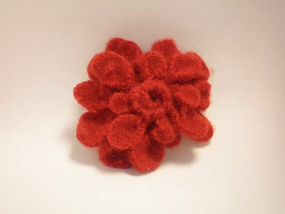 Scarlet Zinnia Flower Accent for Sash - Repurposed Upcycle Wool Sweater - Holiday Pin