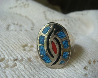 Large Silver Ring with Blue,Black and Red Inlay