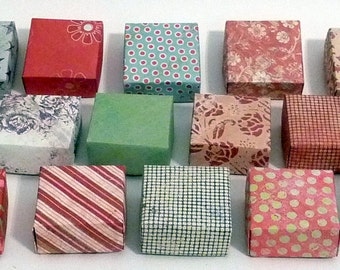 Set of 20 Small Gift Boxes, Jewelry Box, Origami  Box, Favor Box, Hand Made Box, Colorful Box