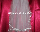 Bridal Wedding Veil- 2 Tier Elbow, White or other colors w/ Satin Ribbon Trim, UBV230-14-SR