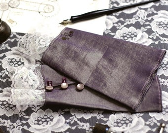 Inventor's Cuffs - Pale Purple with White Lace - Victorian Steampunk
