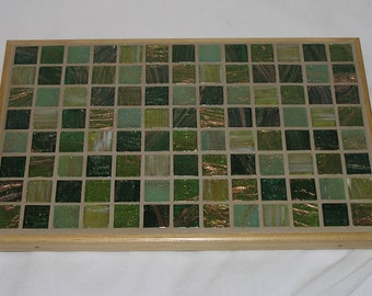 Green with gold glass tile mosaic trivet