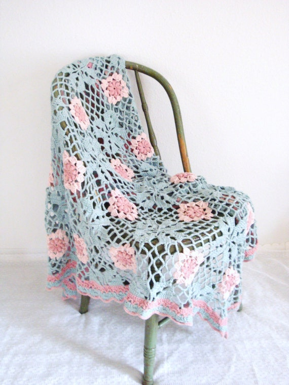 VINTAGE Hand Crocheted Baby Blanket / Blue and Pink