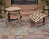 Wine Barrel Adirondack Footrest and Table Woodworking Plans