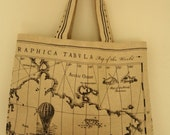 Market style tote bag featuring vintage map print fabric