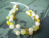 Blue, Green and Yellow Jade Necklace /Free Shipping