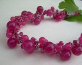 Pink Jade Necklace /Free Shipping