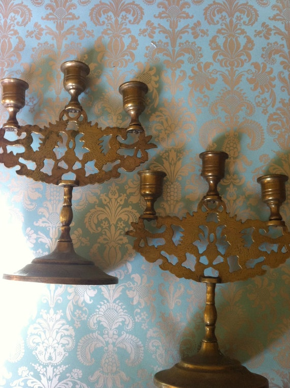 Pair of Boho Brassy Candle Holders with Engravings