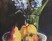 FRUITS - original painting - 12 x 16 acrylic on canvas  - framed- Ready To Ship
