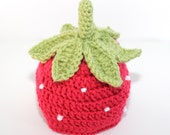STRAWBERRY BABY HAT - photo prop - newborn - baby - acrylic - Made To Order