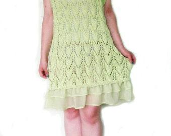 Green hand knit dress,summer dress,Summer Fashion,dress women, knit and chiffon dress,dress