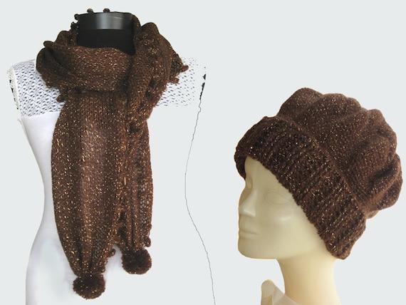 dark brown,hand knitting scarf,crochet hat,wool-metalic yarn,
