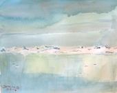 Blue sky   watercolor print