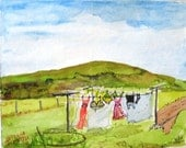 Clothing line Watercolor..print