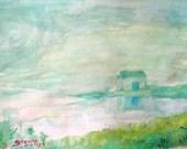 House in fog  watercolor print