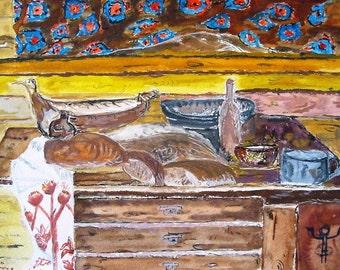 Bread still life print