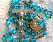 SALE Vintage turquoise  aqua blue glass bead  rosary, shabby chic