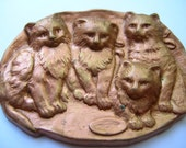 Large brass repousse cat findings, jewelry supply,destash,scrapbook,mosaics