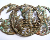 Oxidized,verdigris,Brass seahorse pendant size stamping ,lot, jewelry supply,destash,scrapbook