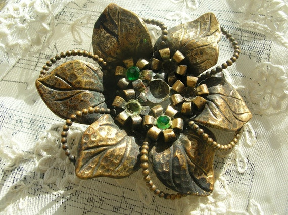 Antique brass brooch pin,buckle for recycling, rhinestones,distressed,aged,vintage
