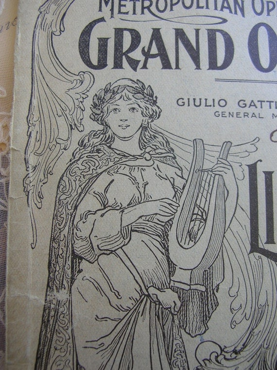 Antique Opera Program La Boheme , Victorian era Opera 1898