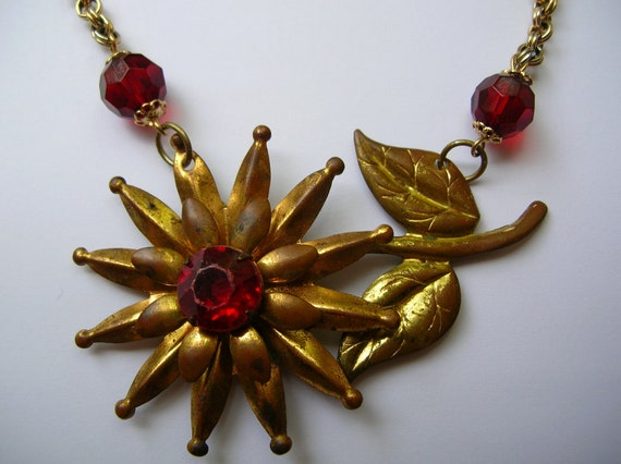 Vintage brass daisy brooch repurposed in to necklace,distressed,patina