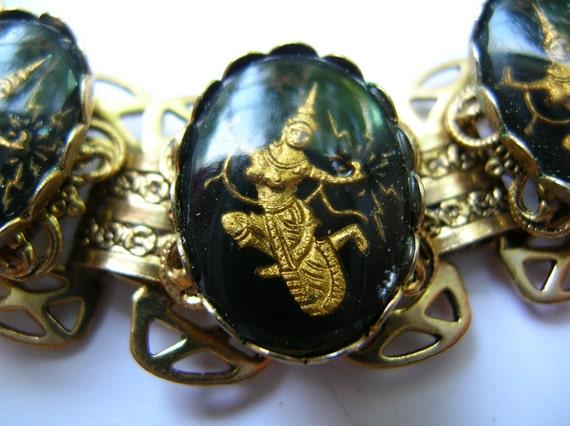 Vintage intaglio lightening goddess cameo book chain bracelet