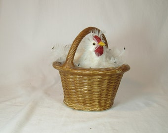 Feathered Hen in Ceramic Basket