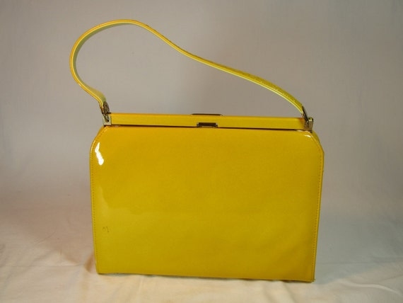 Chromium Yellow Vinyl Handbag 1950's