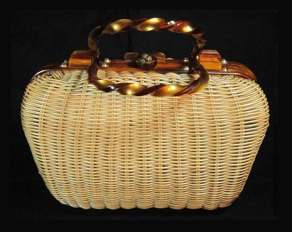 1960's Wicker Handbag