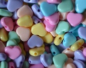 60 Assorted Plastic Pastel HEART Beads