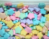 36 Assorted Plastic Pastel STAR Beads