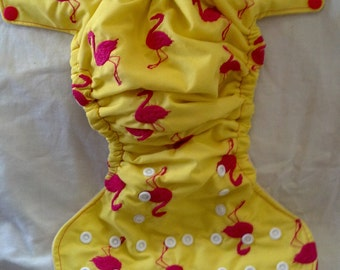 Flamingos in Pink Embroidered Diaper