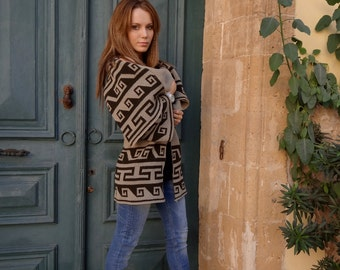 Knitted cardigan with jacquard designs in traditional Greek style