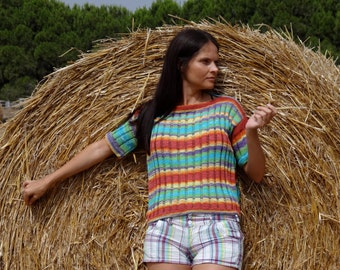 Knitted handmade Multi-color summer cotton jumper