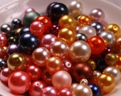 Round Glass Pearl Beads -  3-16mm, Various Colors, 115g